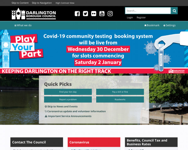 Desktop screenshot of Darlington Borough Council website