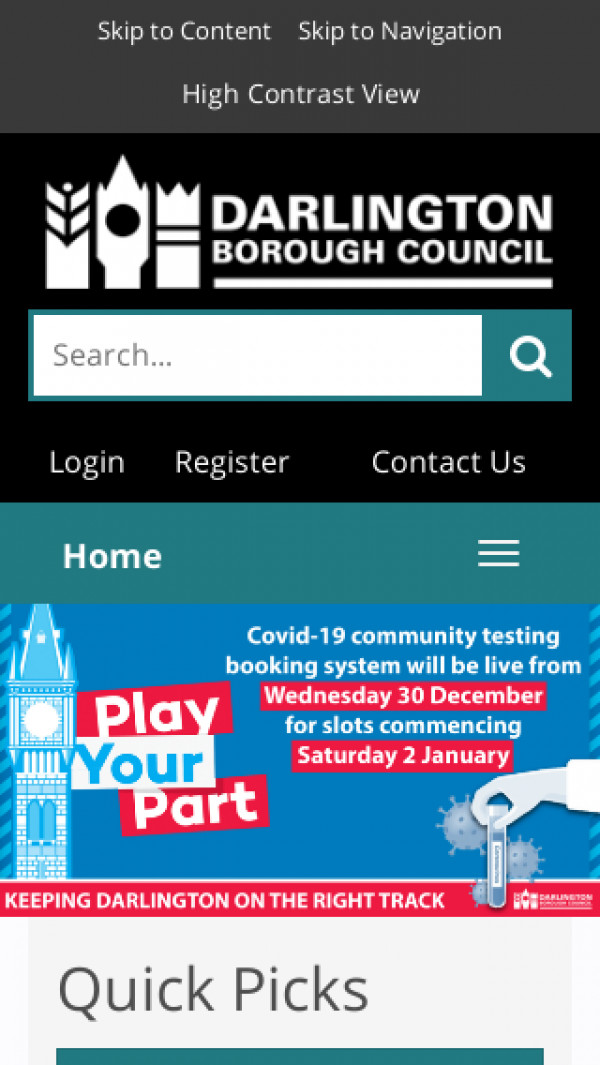 Mobile screenshot of Darlington Borough Council website
