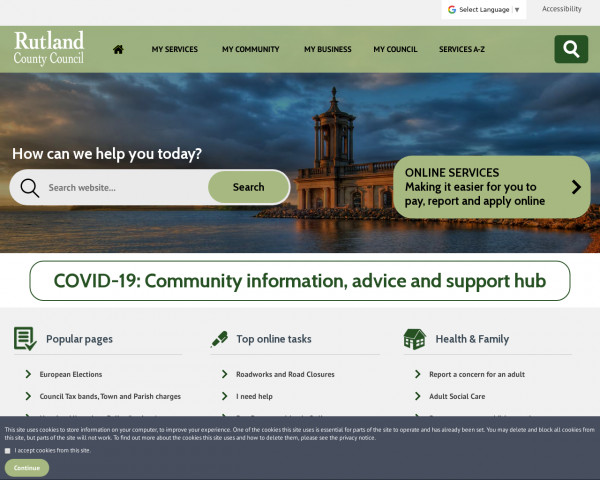 Desktop screenshot of Rutland County Council website