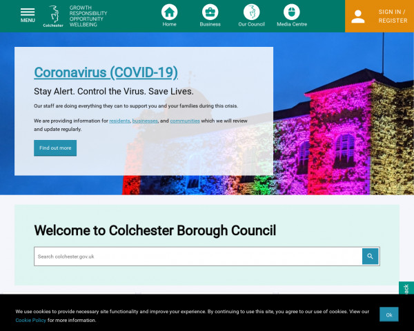 Desktop screenshot of Colchester Borough Council website