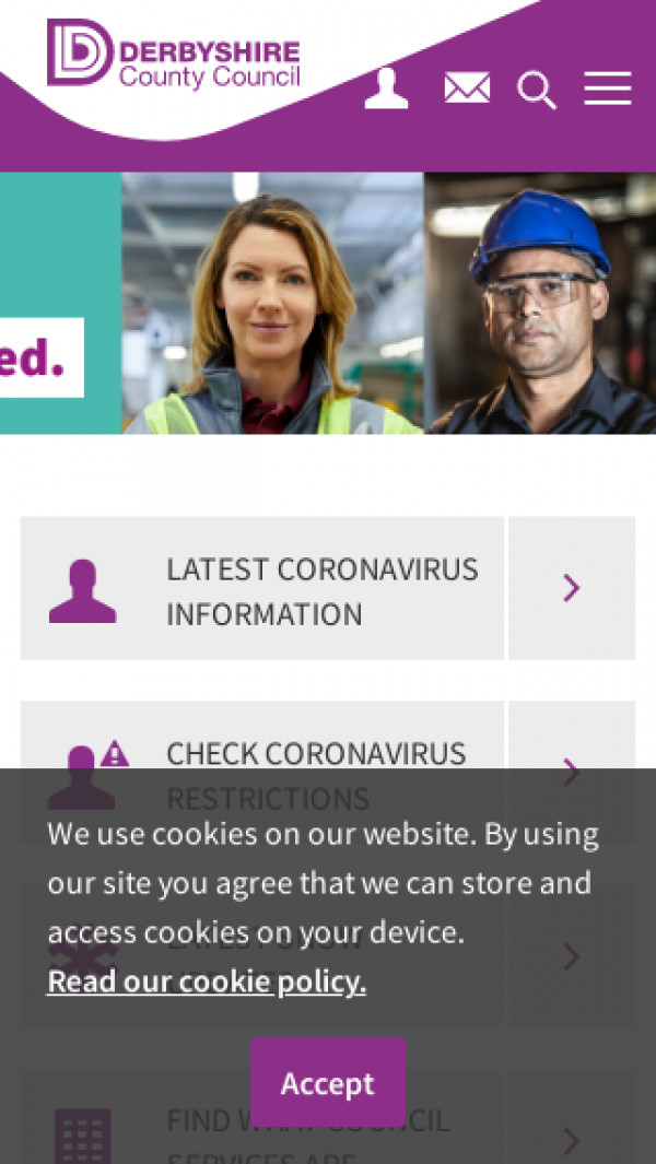 Mobile screenshot of Derbyshire County Council website
