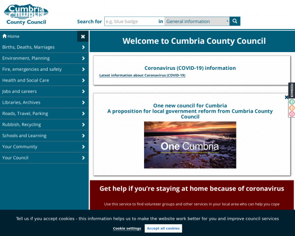 Desktop screenshot of Cumbria County Council website