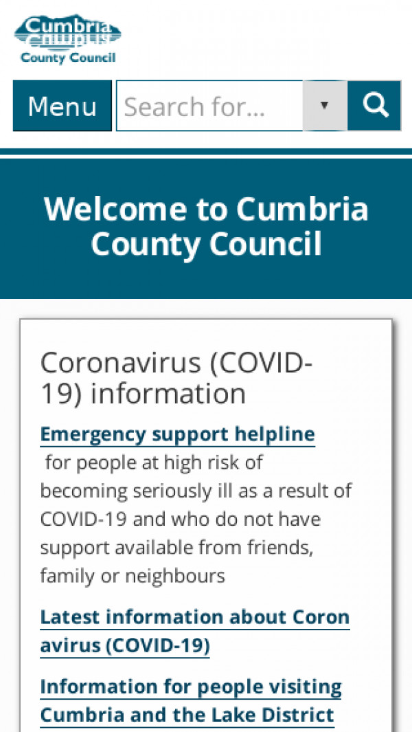Mobile screenshot of Cumbria County Council website