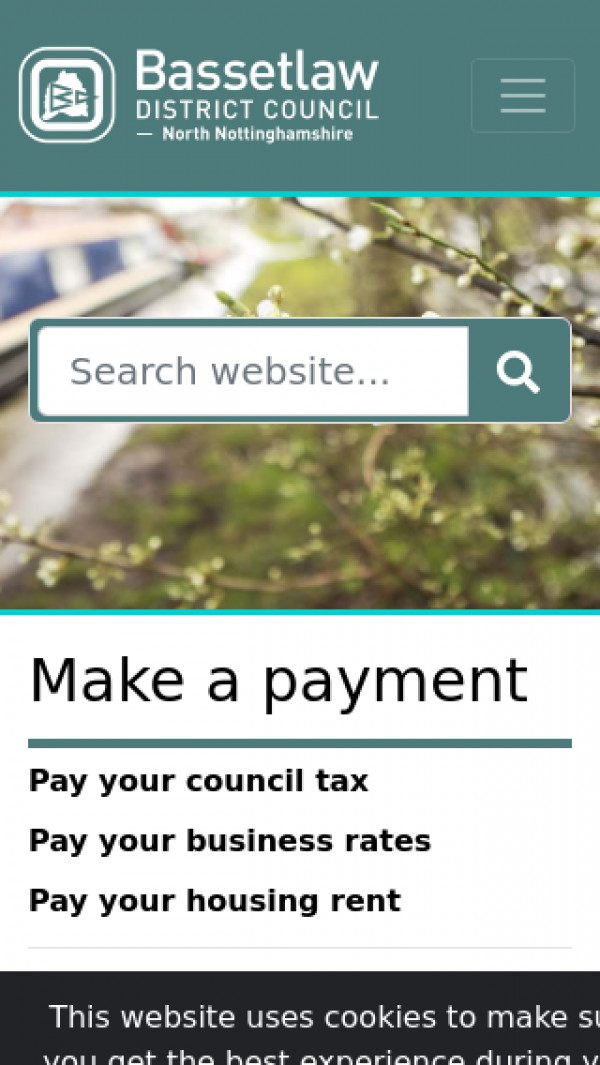 Mobile screenshot of Bassetlaw District Council website