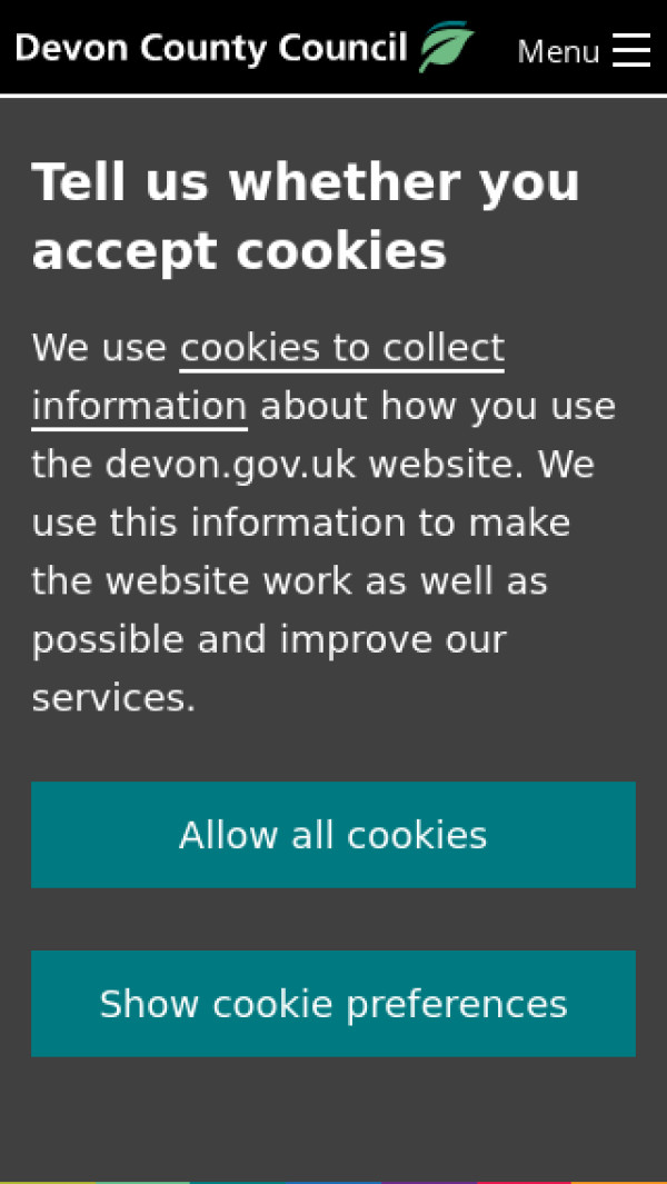 Mobile screenshot of Devon County Council website