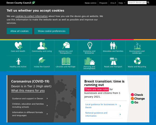 Desktop screenshot of Devon County Council website