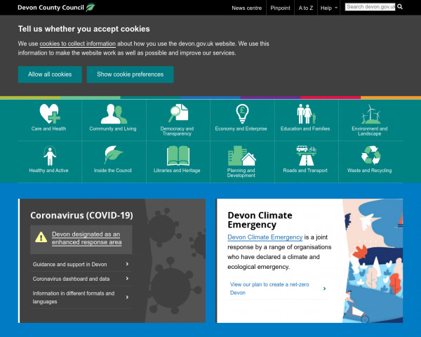 Screenshot of Devon County Council   Services and information for Devon residents