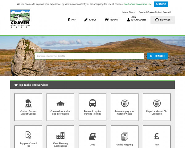 Desktop screenshot of Craven District Council website
