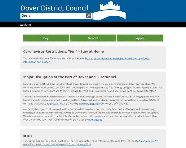 Desktop screenshot of Dover District Council website