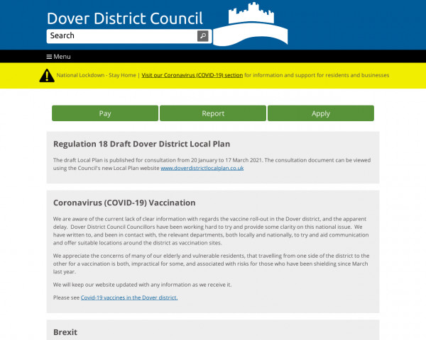 Screenshot of Dover District Council