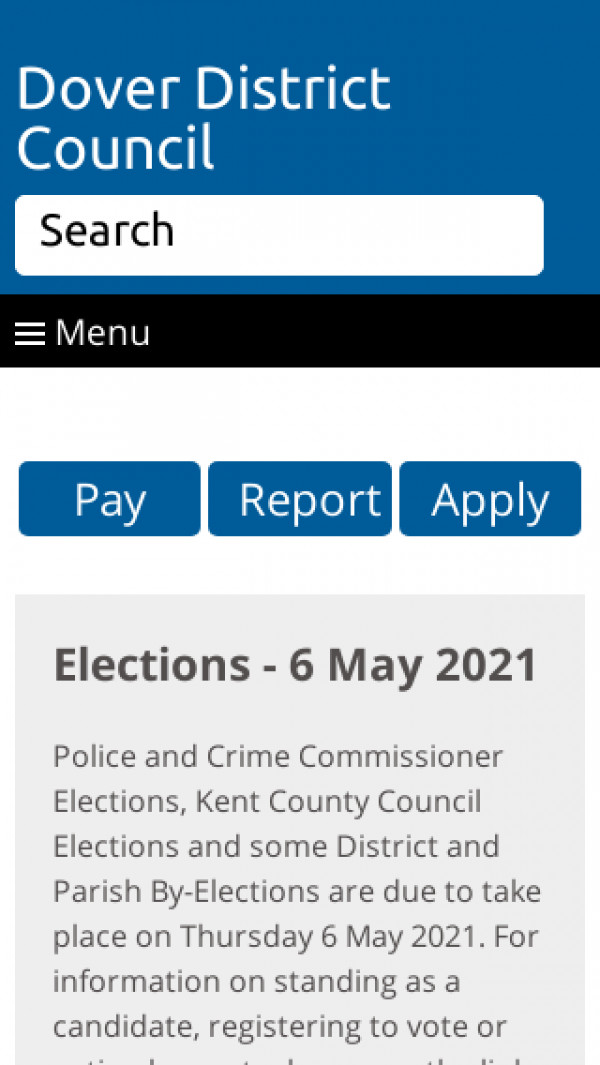 Mobile screenshot of Dover District Council website