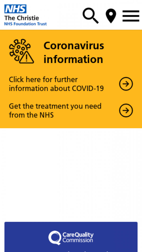 Mobile screenshot of The Christie NHS Foundation Trust website