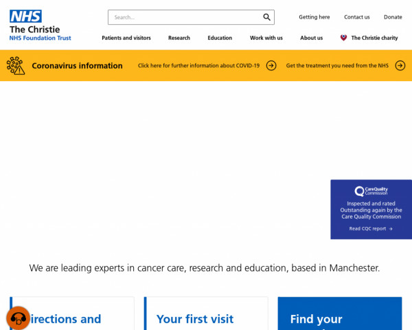 Screenshot of The Christie NHS Foundation Trust