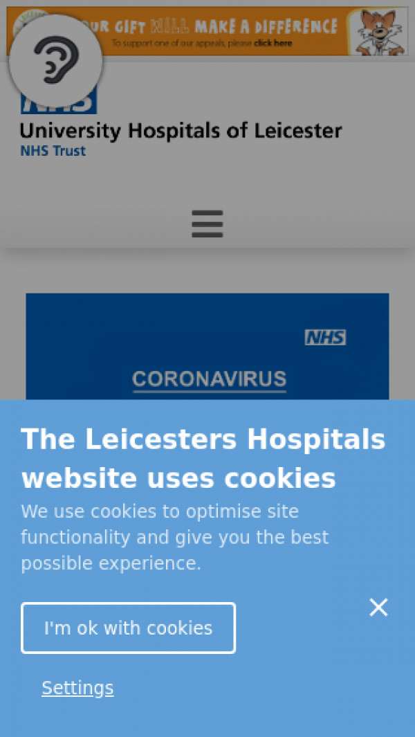Mobile screenshot of University Hospitals Of Leicester NHS Trust website