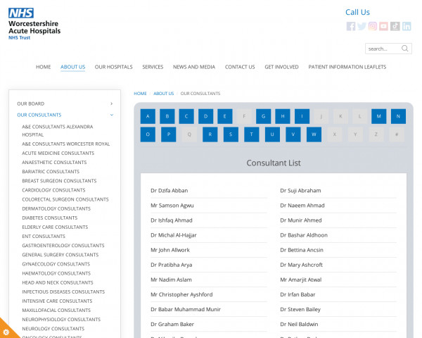 Screenshot of Our Consultants - Worcestershire Acute Hospitals NHS Trust