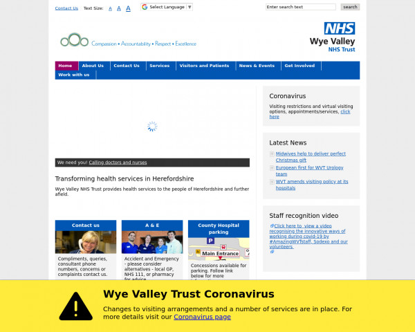 Desktop screenshot of Wye Valley NHS Trust website