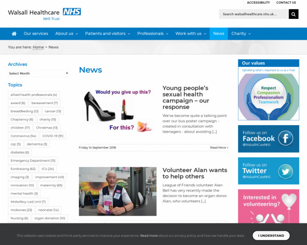 Screenshot of News - Page 44 of 47 - Walsall Healthcare NHS Trust