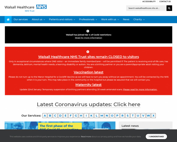 Screenshot of Home - Walsall Healthcare NHS Trust