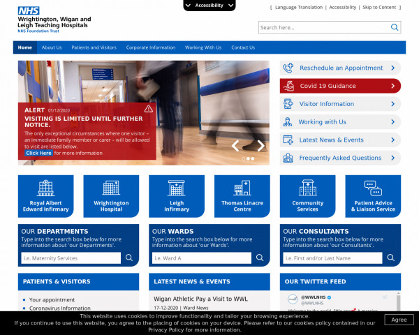 Desktop screenshot of Wrightington, Wigan and Leigh NHS Foundation Trust website