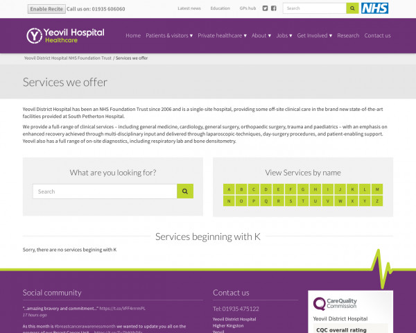 Screenshot of NHS service and specialities at Yeovil Hospital : Yeovil District Hospital NHS Foundation Trust
