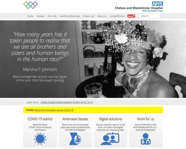 Desktop screenshot of Chelsea and Westminster Hospital NHS Foundation Trust website