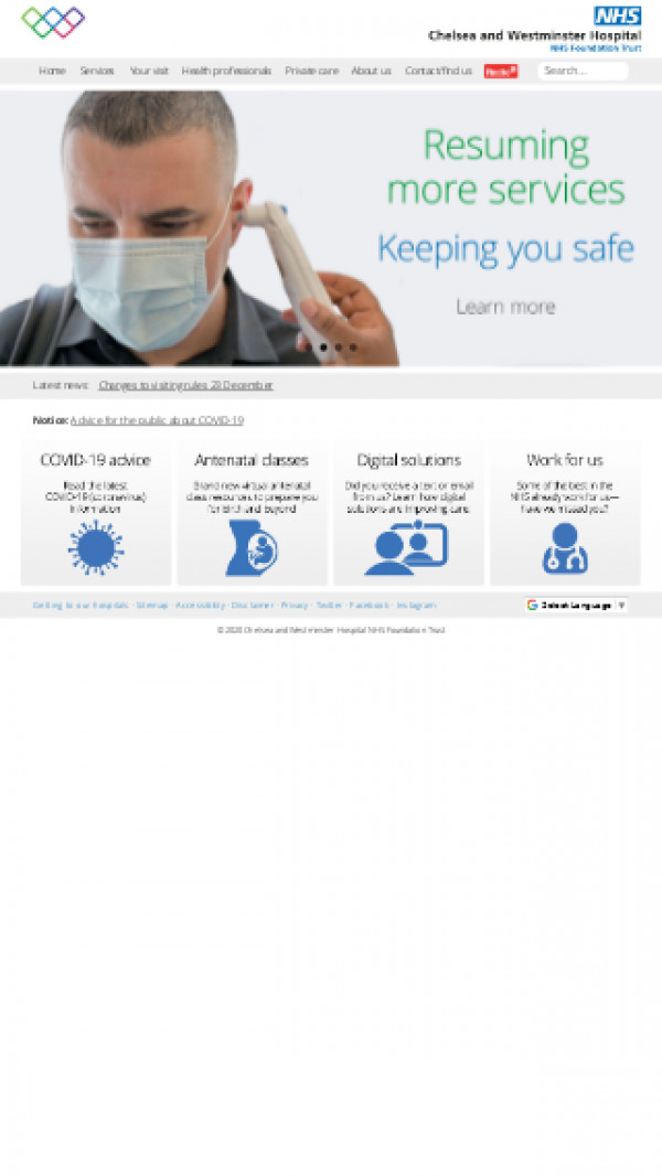 Mobile screenshot of Chelsea and Westminster Hospital NHS Foundation Trust website