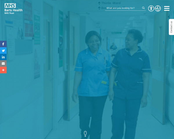 Desktop screenshot of Barts Health NHS Trust website