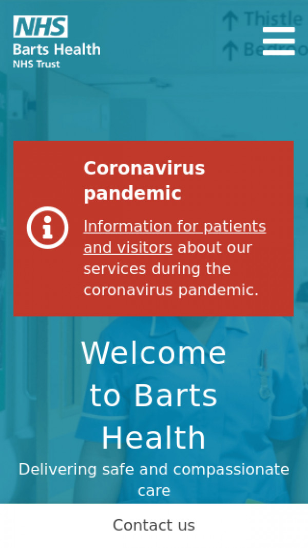 Mobile screenshot of Barts Health NHS Trust website