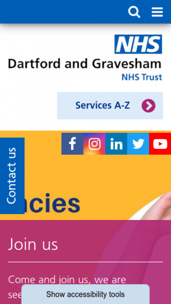 Mobile screenshot of Dartford and Gravesham NHS Trust  website