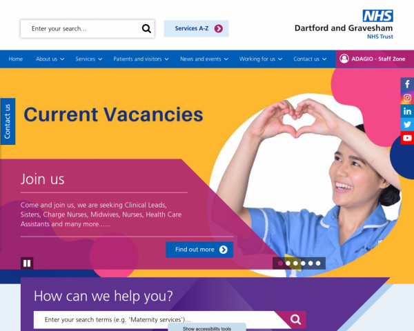 Desktop screenshot of Dartford and Gravesham NHS Trust  website