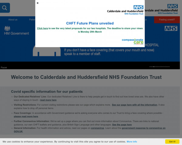 Desktop screenshot of Calderdale and Huddersfield NHS Foundation Trust website