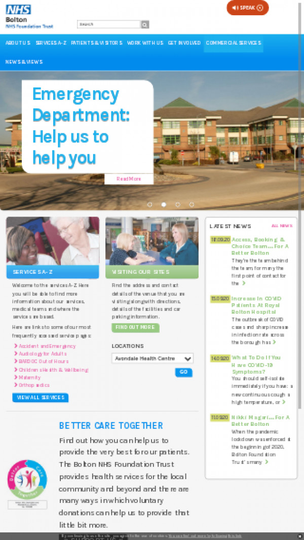 Mobile screenshot of Bolton NHS Foundation Trust website