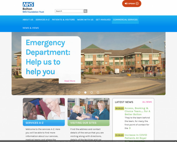 Desktop screenshot of Bolton NHS Foundation Trust website