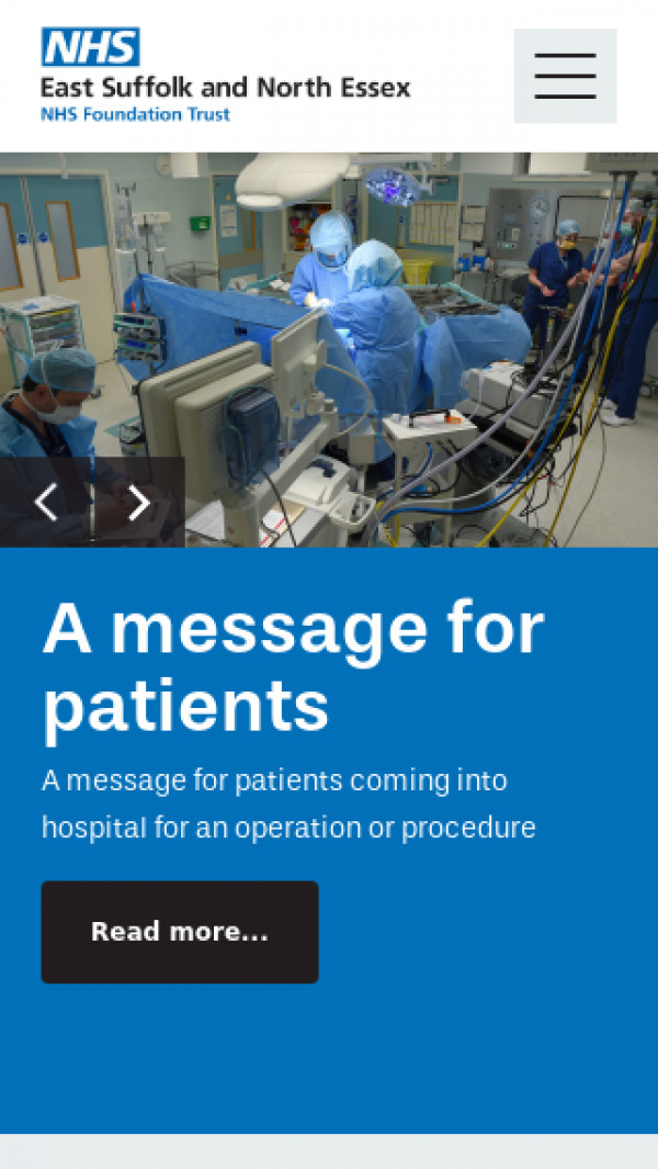 Mobile screenshot of East Suffolk and North Essex NHS Foundation Trust website