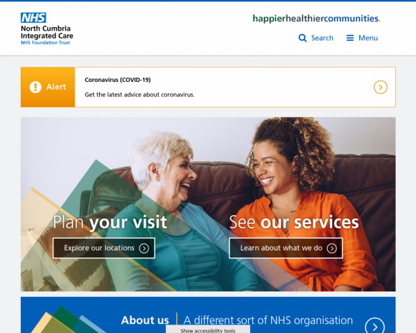 Desktop screenshot of North Cumbria Integrated Care NHS Foundation Trust website