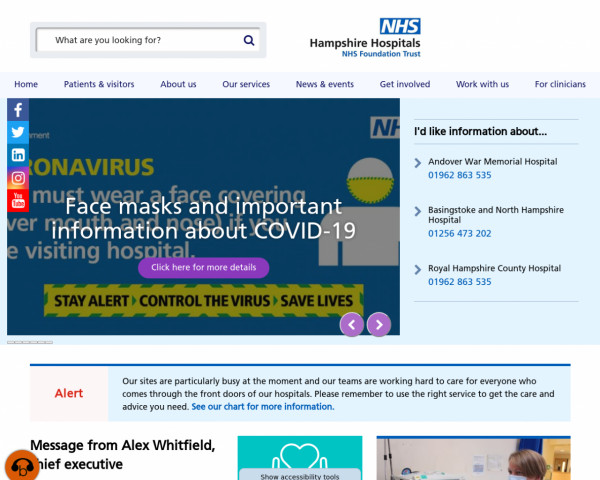 Desktop screenshot of Hampshire Hospitals NHS Foundation Trust website