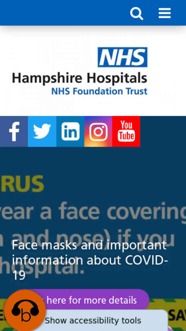 Mobile screenshot of Hampshire Hospitals NHS Foundation Trust website