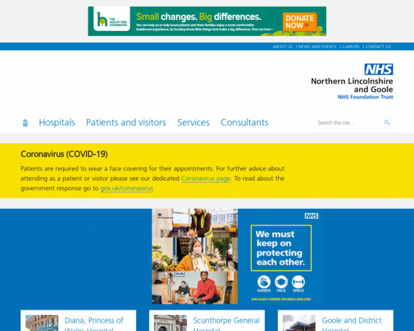 Desktop screenshot of Northern Lincolnshire and Goole NHS Foundation Trust website