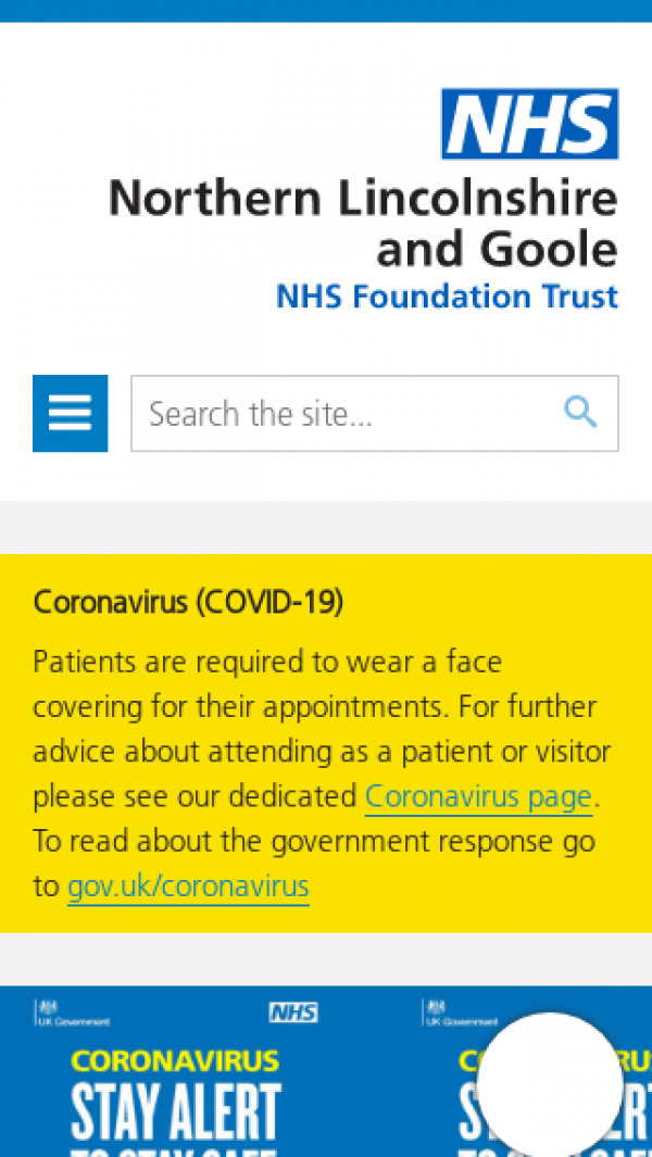 Mobile screenshot of Northern Lincolnshire and Goole NHS Foundation Trust website
