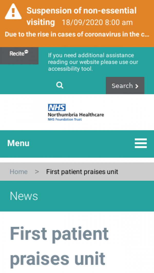 Screenshot of First patient praises unit – Northumbria Healthcare NHS Foundation Trust
