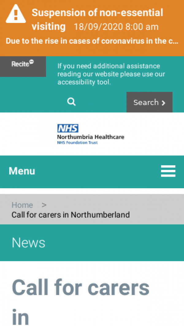 Screenshot of Call for carers in Northumberland – Northumbria Healthcare NHS Foundation Trust