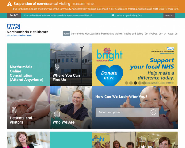 Screenshot of Northumbria Healthcare NHS Foundation Trust