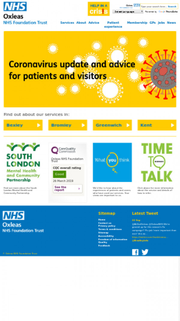 Mobile screenshot of Oxleas NHS Foundation Trust website