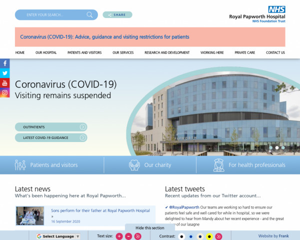 Desktop screenshot of Royal Papworth Hospital NHS Foundation Trust website