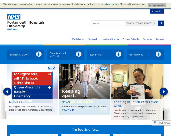 Screenshot of Portsmouth Hospitals NHS Trust