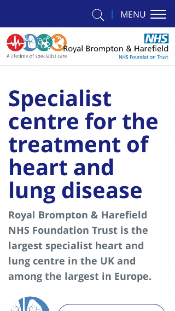 Mobile screenshot of Royal Brompton and Harefield NHS Foundation Trust website
