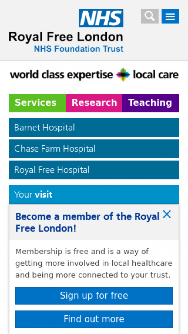 Mobile screenshot of Royal Free London NHS Foundation Trust website