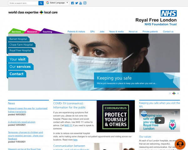 Desktop screenshot of Royal Free London NHS Foundation Trust website