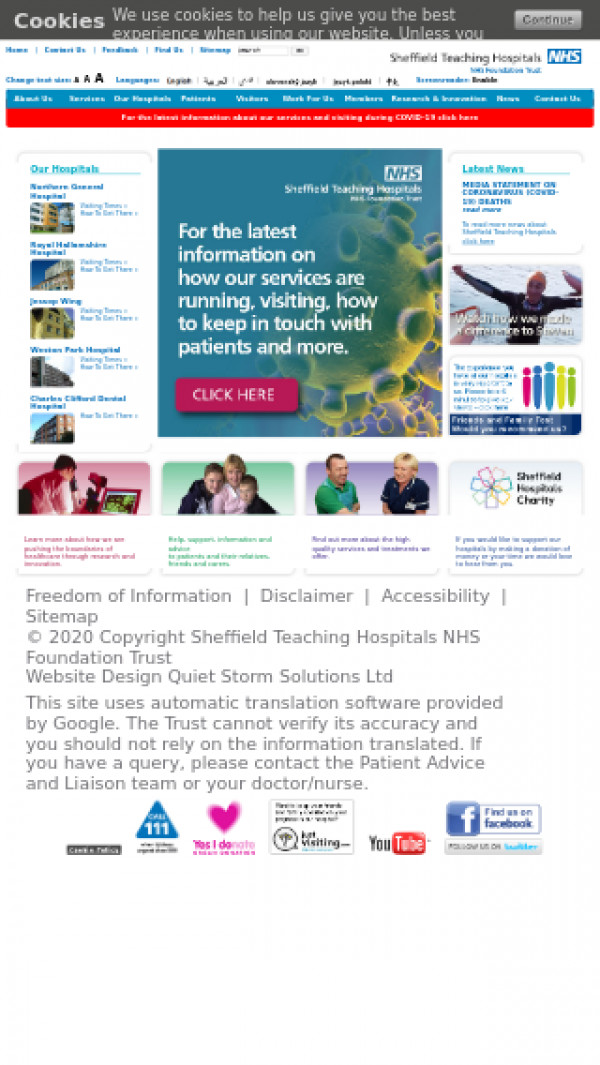 Mobile screenshot of Sheffield Teaching Hospitals NHS Foundation Trust website
