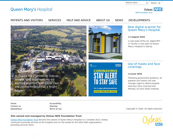 Desktop screenshot of Queen Mary's Hospital website